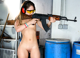 Dirty Blonde White Girl Shoots Guns And Sucks Dick