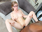 monstersofcock: Petite white girl with glasses takes on big black dick