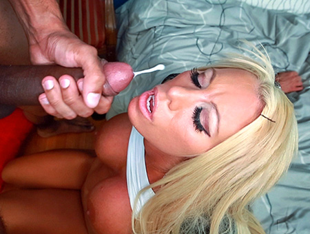 Blonde White Girl Swallows Some Big Black Cock Monsters of Cock