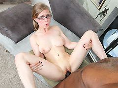 Petite white girl with glasses takes on big black dick