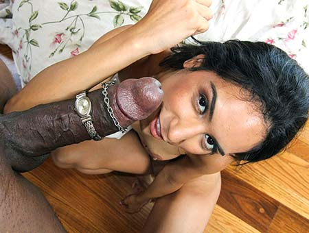 Petite Latina decimated by black cock