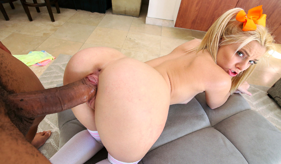 Tiny Blonde Takes Huge Cock